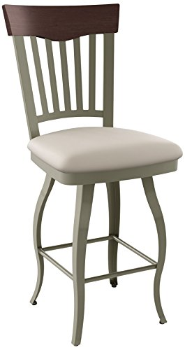 Amisco 26 Inch Bar Stools - Amisco Lighthouse Swivel Metal Counter Stool with Backrest, 26-Inch, Titanium/Oyster/Choco