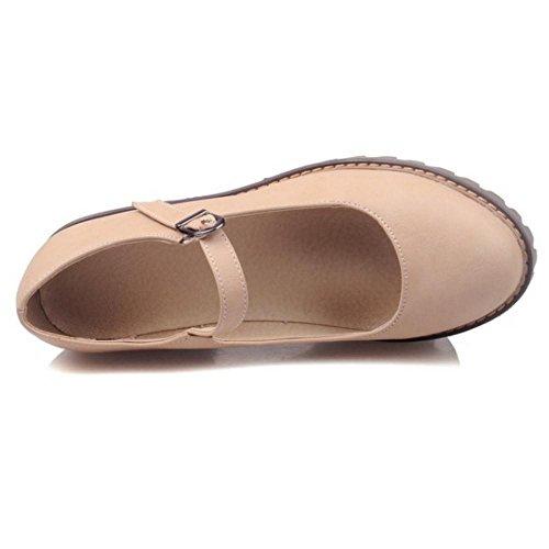Coolcept Zapatos de Tacon Ancho de Tira de Tobillo Para Mujer Beige