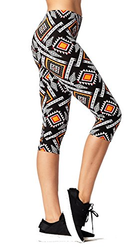 - Premium Ultra Soft Womens High Waisted Capri Leggings - Cropped Length - Printed - Aztec Tapestry - Small/Medium (0-12)