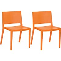 Mod Made Elio Plastic Dining Chair, Orange, Set of 2
