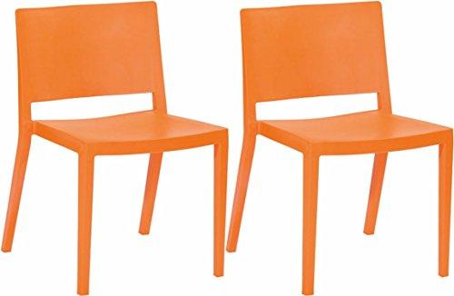 Mod Made Elio Plastic Dining Chair, Orange, Set of 2