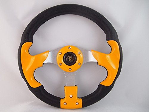 (New World Motoring YAMAHA GOLF CART & POLARIS RHINO YELLOW steering wheel W/Chrome Adapter 3 spoke)