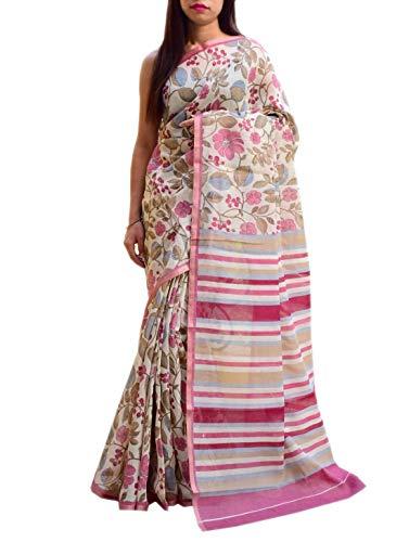 GiftPiper Kashmiri Linen Saree with Floral Print- Cream