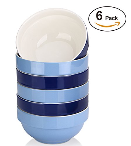 DOWAN 16 Ounce Soup Bowl Set - Prefect Portion Control for Cereal/Salad, 6 packs, Assorted Colors (In Oven Bowl Porcelain)
