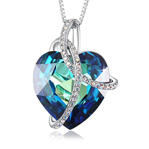 PLATO H Noble Heart Pendant Necklace With Swarovski Crystals Mothers Day Gift (Earring Pendant Gift)