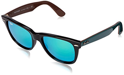 Ray-Ban WAYFARER - BLACK Frame GREY MIRROR GREEN Lenses 54mm - 2140 Polarized