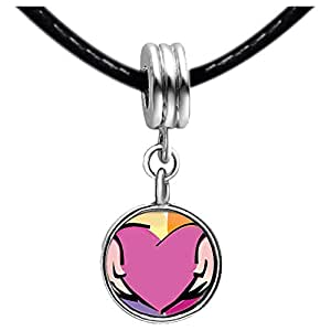 Chicforest Silver Plated Pink Heart In Hands Photo Sapphire Crystal September Birthstone Flower dangle Charm Beads Fits Pandora Bracelet