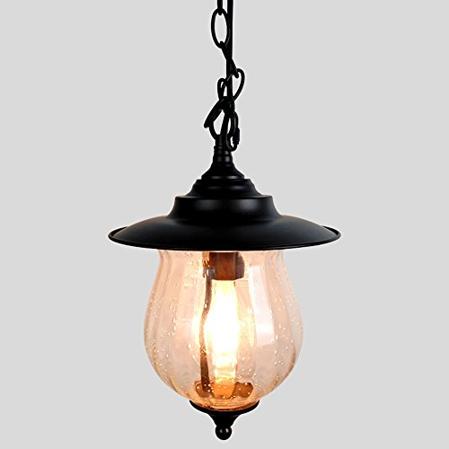 Industrial Glass Barn Lantern, Motent Mini Glass Drop Ceiling Light Metal Dome Round Clear Glass Globe Island Lighting Lampshade Pendant Light Fixture for Kitchen Corridor Coffee Shop - 9 inches Dia