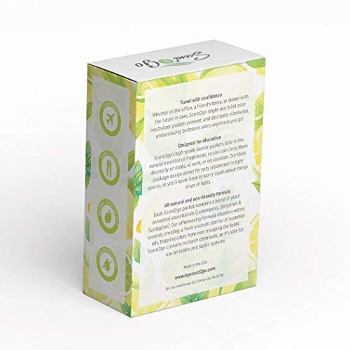 Scent2go Toilet Fragrance Packet, Travel Size Air Freshener, Pocket & Wallet Size Fit, Made with Essential Oils, Lemon + Mint Scent (10 Packets)