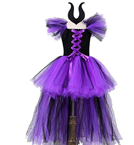 Asda Girls Halloween Costumes (Chunks of Charm Hi-Lo Evil Queen Malificent Tutu Dress and Headband Set from Dot Com (4T) Black,)