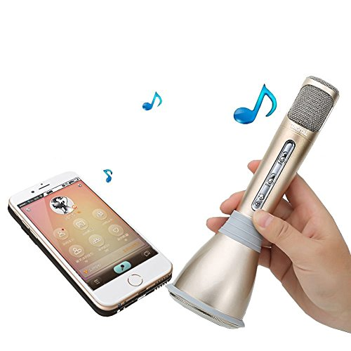 Tagital Wireless Bluetooth Karaoke Microphone, with Built in Speaker- Handheld, Portable KTV Player for Singing Anytime Anywhere for iPhone, Android Phones and Tablet (Gold)
