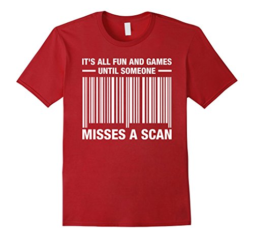 Mens It's All Fun And Games Until Someone Misses A Scan T-Shirt Large (Post Office Worker Costume)