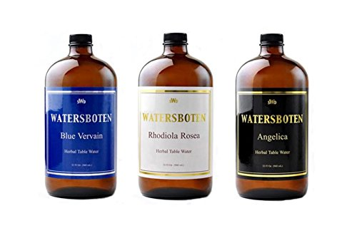 Gently Mood Enhancing Alternative to Alcohol - Fine Dining - Classic Luxury - The Culinary Art of Fine Herbal Mineral Waters - 3 Pack: Blue Vervain, Rhodiola Rosea, Angelica - 32 Fl Oz Ea