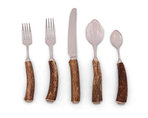 Vagabond House Real Natural Deer/Bone Antler Flatware/Placesetting; 5 Piece Set - Handmade in USA ()
