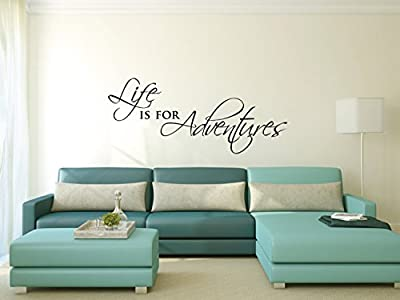 kiskistonite Wall Sticker - Life is for Adventures | Motivational Inspirational Wall Sticker Quote | Wall Sticker Words | Travel Decor Wall Decor Decal, for Bedroom