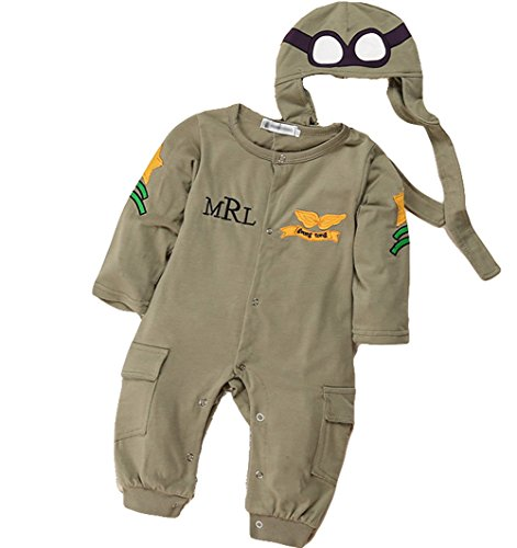 Baby Boys Pilot Two Piece Layette Set Toddler Outfits with Cap by LOOLY Royal Green -