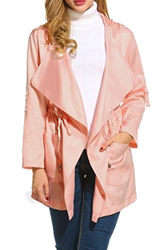 HOTOUCH Womens Hoodie Safari Utility Fashion Parka Jacket (Pink XL) (Pink Ladies Jacket Plus Size)