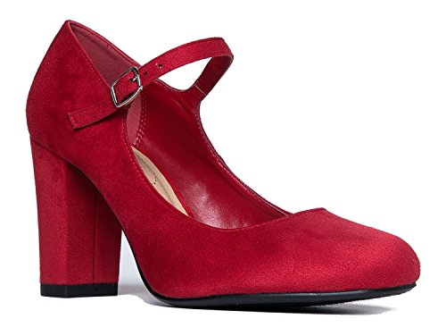 Mary Jane High Heel - Cute Round Toe Block Heel - Classic Comfortable Easy Dress Shoe - Skippy by J Adams, Lips Suede, 8.5 B(M) US