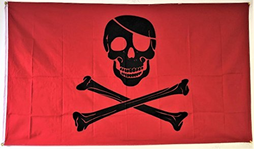 ALBATROS 3 ft x 5 ft Pirate Red Blood Patch Flag 5in x 3in Skull Skeleton Bones Halloween for Home and Parades, Official Party, All Weather Indoors Outdoors]()