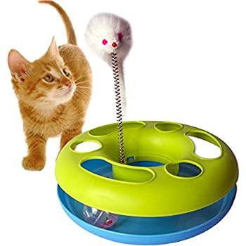 Gpet Cat Toy Happy Kitten Circle with Ball and Catch the Mouse Motion to Exercise and Satisfy Pet's Natural Instinct with Fun