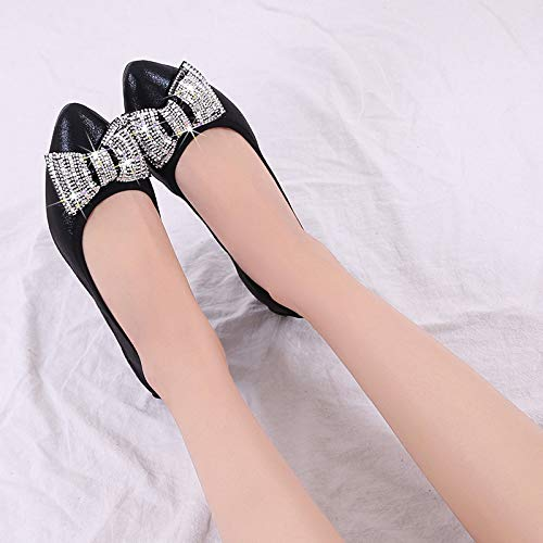soft shoes pointed C FLYRCX bow shoes flat women foldable rhinestones shoes pregnant bottom dance Women's PHPqxInB