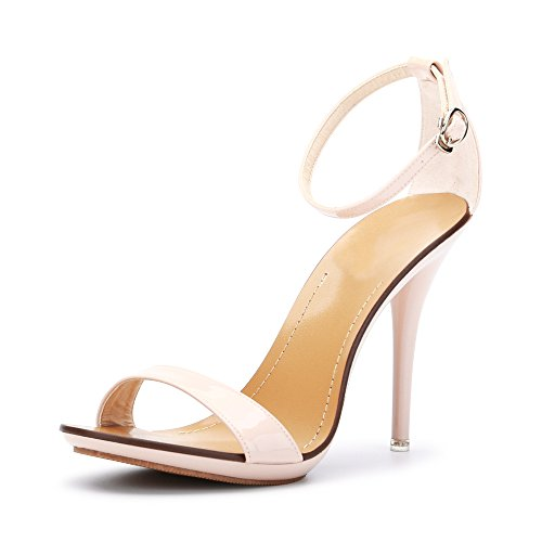Women's Classic Dancing Stiletto High Heel Open Toe Ankle Strap Sandals Nude pink Size US 6
