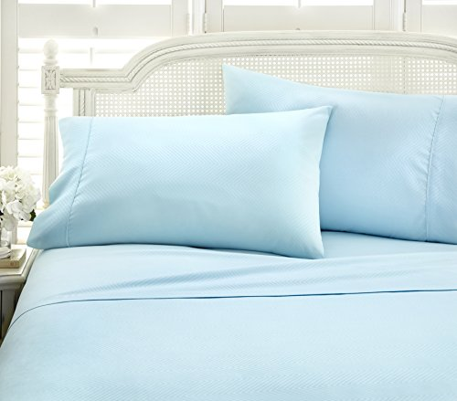 ienjoy Home Hotel Collection Embossed Chevron 4 Piece Sheet Set, KING, AQUA from ienjoy Home