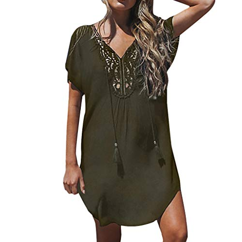 (Women Lace Stitching Mini Dress Deep V-Neck Summer Fashion Beach Dress Mallcat Solid Color Hollow Tassels Knee Skirt Army Green)