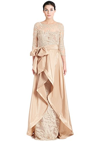 Teri Jon Bead Embellished 3/4 Sleeve Evening Gown Dress
