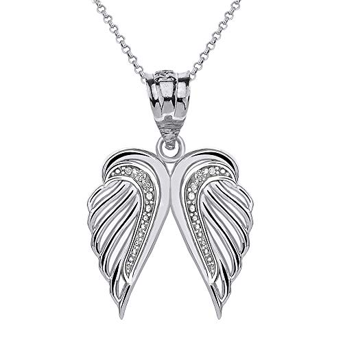 CaliRoseJewelry 10k Feather Dainty Angel Double Wing Diamond Pendant Necklace in White Gold, 16