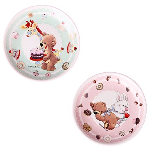 Kylin Express Set Of 2 Ceramic Cartoon Animal Round Dishes Chicken Dishes,Green&Pink by Kylin Express