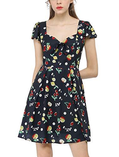 Allegra K Women's Sweetheart Neckline Cap Sleeves Lemon Cherry Junior Vintage Fruit Print Dress Dark Blue S US 6