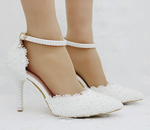 Shoes with Shoes high Tips LEIT Women's Heeled and White Mouth fine Thin Shallow T6qcEw1