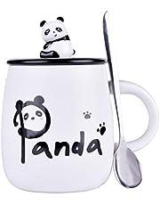 Panda Mug Cute Ceramic Coffee Mug with 3D Panda Lid and Spoon, Cute Cups Novelty Coffee Tea Milk Christmas Mug for Women Girls Boys
