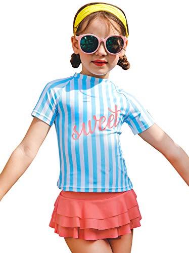 sunseen Girls Summer One Piece Two Pieces Swimsuits Hawaiian Swimwear Beach Bathing Suit (L(5-6Y), Stripe Blue)