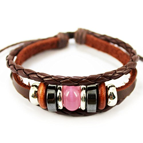MORE FUN Unique Vintage Synthetic Opal Stone Leather Cord Woven Wrap Bracelet Adjustable - Liv Charge Cover