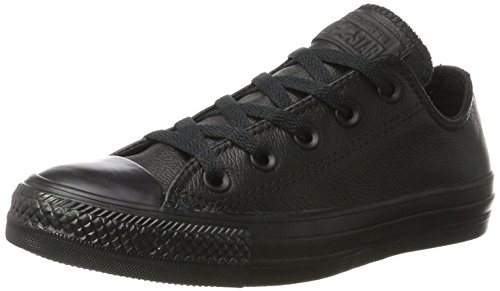 Converse Chuck Taylor All Star Leather Low Top Shoe, black mono, 10 M US (All Star Black Ox Shoes)