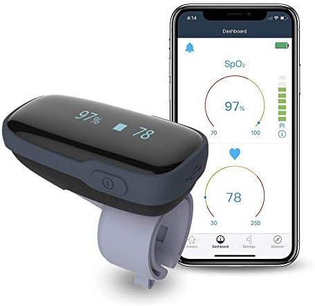 Pulsossimetro Bluetooth, monitor di saturazione di ossigeno, wireless con promemoria audio su dispositivo e smartphone APP gratuita, misuratore di frequenza cardiaca SpO2 ricaricabile per adulti