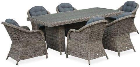 Table de Jardin en résine tressée Arrondie - Lecco Naturel - Coussins  Anthracite - 6 Places - 6 fauteuils, Une Grande Table