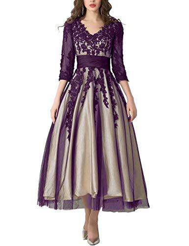LMBRIDAL Womens Vintage Appliques Evening Gowns 3/4 Sleeves A Line Semi-Formal Dresses Grape 18W