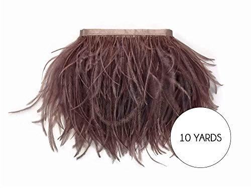 (Moonlight Feather | 10 Yards - Mocha Ostrich Fringe Trim Wholesale Feather (Bulk) Halloween Costume Wedding Prom Supplier)