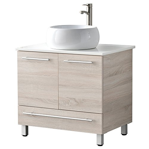 "LifeSky LIF-BC033 Bathroom Vanity, 30"" 2 Doors 1 Drawer, Danube Oak"