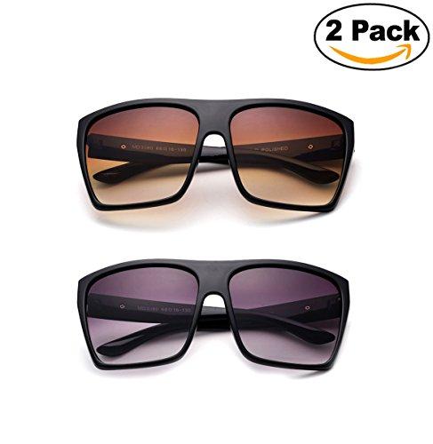 Newbee Fashion - Large Retro Style Square Aviator Flat Top Sunglasses - Vintage Sunglasses Aviator Square