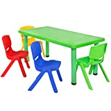 Best Choice Products Kids Plastic Play Room Furniture Set w/Table, 4 Chairs for Home, School, Fun - Multicolor