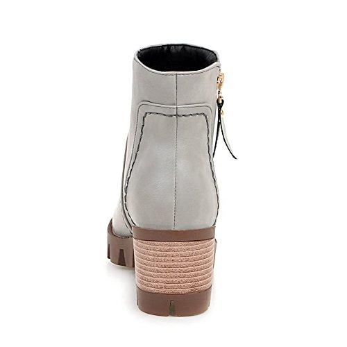 AllhqFashion Womens Zipper Round Closed Toe Kitten-Heels PU Low-Top Boots Gray 9CGmgBu