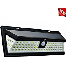 UMR 90 LED Solar Security Light - New 2018 Motion Sensor Outdoor Lighting w 5 LEDs Per Side, Dusk to Dawn Detector, Wireless Battery Power is Ultra-Bright for Exterior Outside Driveway Yard Patio Deck