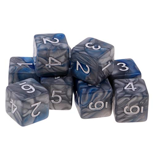 Flameer 10pcs Six Sided D6 Polyhedral Dice with Double Colors & Numbers 16mm - Blue+Gray, as described