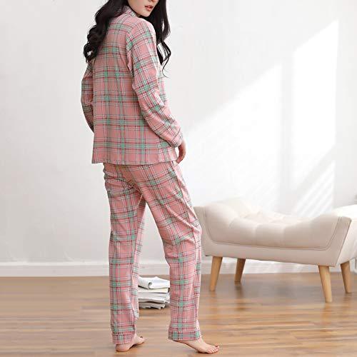 Maniche Da Da Donna Pink Pezzi Cotone Da Set E Pantaloni Plaid Pigiama Homewear Notte Morbido Confortevole Top PJ's In In A Lunghe Autunno Due qX5dSq04wx