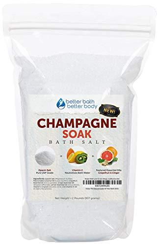 NEW Champagne Bath Salt 32oz (2-Lbs) Epsom Salt With Grapefruit, Ginger, and Lemon Essential Oils - Enjoy A Bath Soak That Evokes The Citrus, Fruity Champagne Aroma Experience -