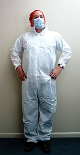 Heavy Duty White 45 Gram Polypropylene Coveralls with Elastic Cuffs, One Pocket on Left Breast, Small 25 ea/cs